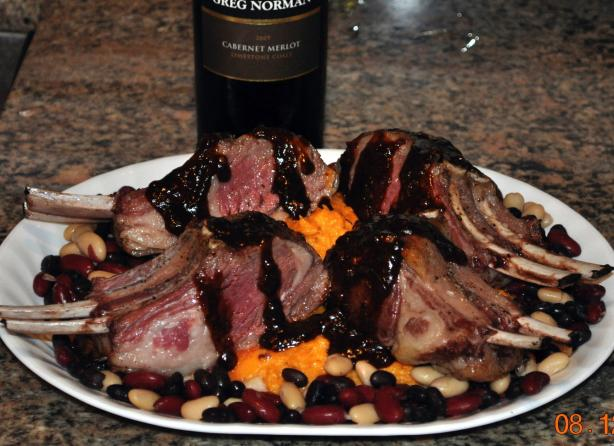New Zealand Rack of Lamb With Sweet Potato Mash and Three Bean R