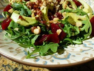 Avocado, Beet and Arugula Salad With Chevre Tartine