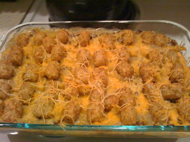 Tasty Tater Tot Casserole W/Noodles and Cheese