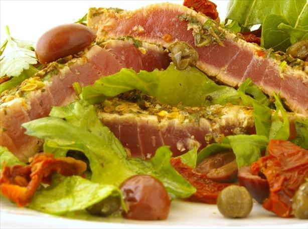 Seared Encrusted Tuna Steak Salad