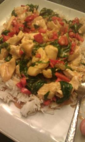 Peanut chicken over rice