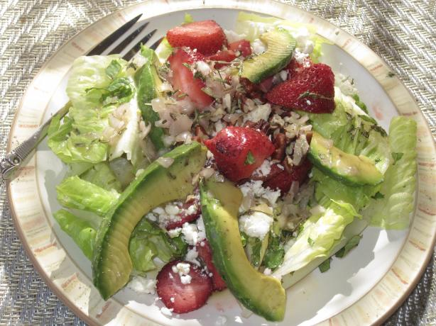 Herbed Romaine Salad With Strawberries and Feta
