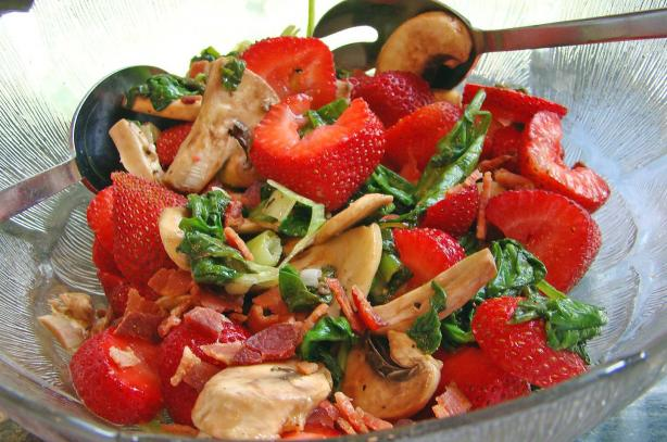 Wilted Spinach and Mushroom Salad with Bacon and Strawberries