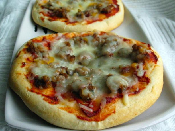 Simple Sausage and Swiss Cheese Mini Pizzas