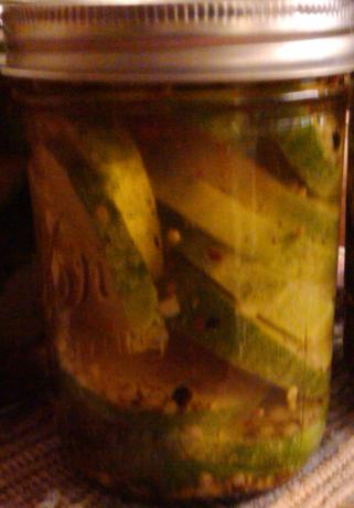 Sliced, Spiced and Iced Refrigerator Sweet Dill Pickles