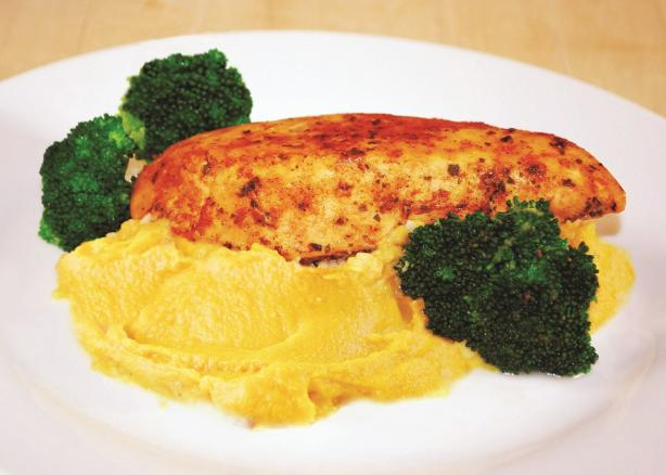 Juicy Mixed Herbs Chicken With Sweet Potato Mash and Sauté
