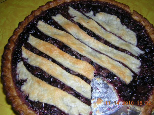 Blueberry Rhubarb Almond Pie