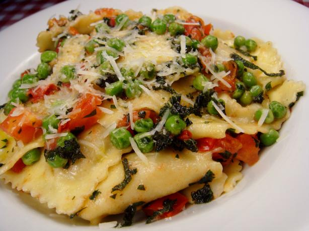 Ravioli With Peas, Tomatoes And Sage Butter Sauce