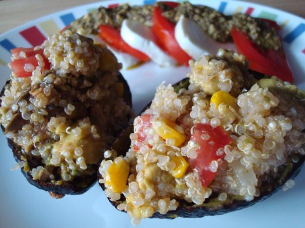 Avocados Stuffed With Quinoa, Corn and Tomato