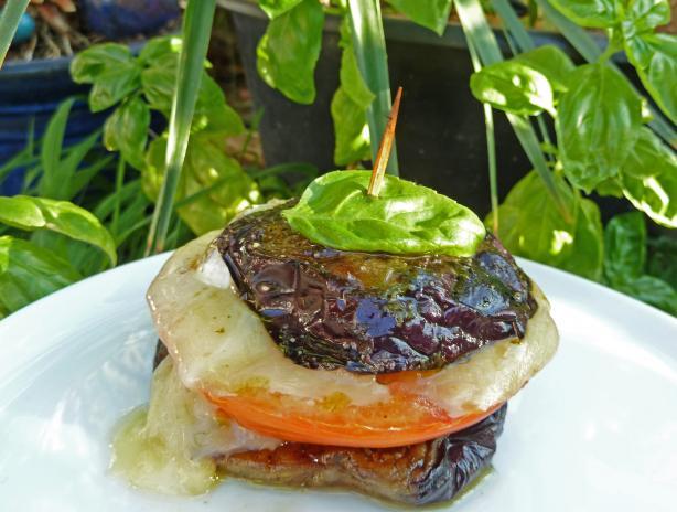 Eggplant Sandwiches W/ Goat Cheese, Tomato, & Basil