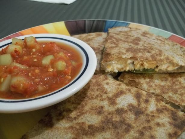 Grilled Salmon Quesadillas With Cucumber Salsa