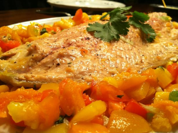 Baked Steelhead Trout/Salmon with Apricot Salsa