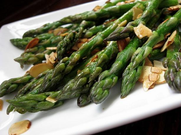Fresh Asparagus with Buttered Almonds