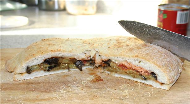 Stuffed Focaccia With Roasted Eggplant and Oregano