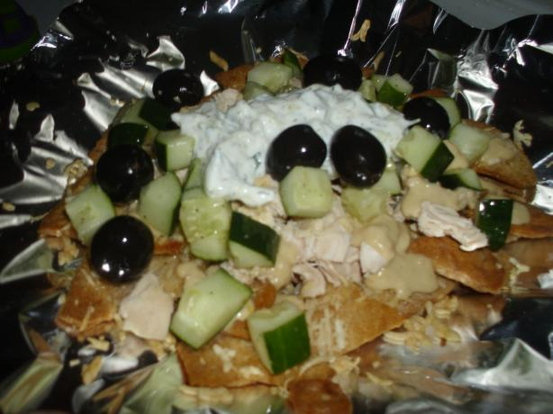 Lightened up Greek Nachos