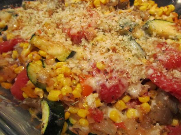 Eggplant, Corn, and Tomato Pie