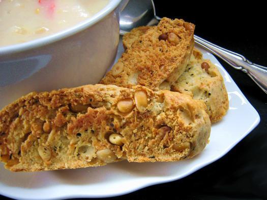 Basil Pine Nut Biscotti