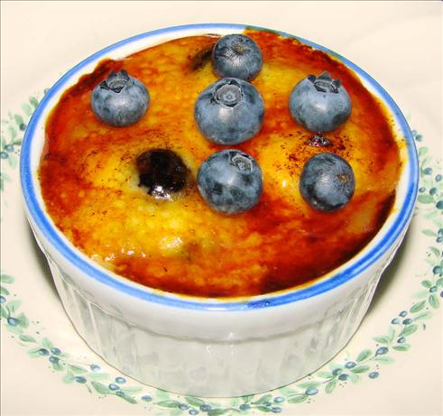 Lemon Pudding Brulee With Blueberries