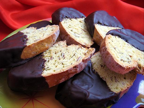Chocolate Dipped Almond Anise Biscotti