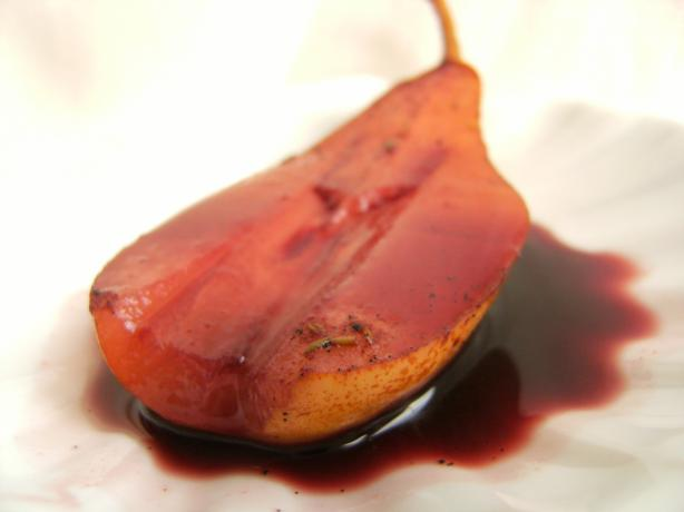 Pears Poached in Spiced Wine