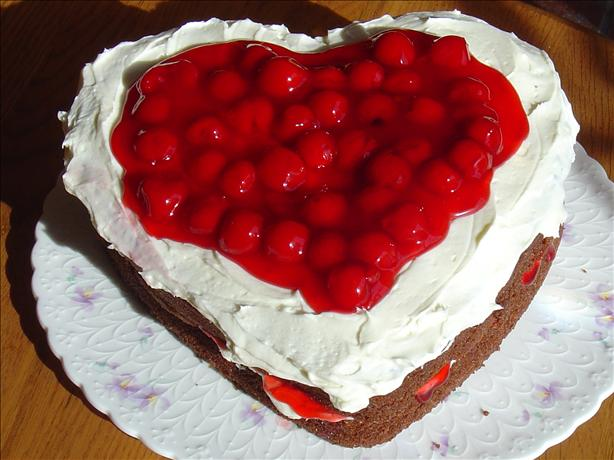 Heart Shaped Chocolate & Cherries & Cream Cake