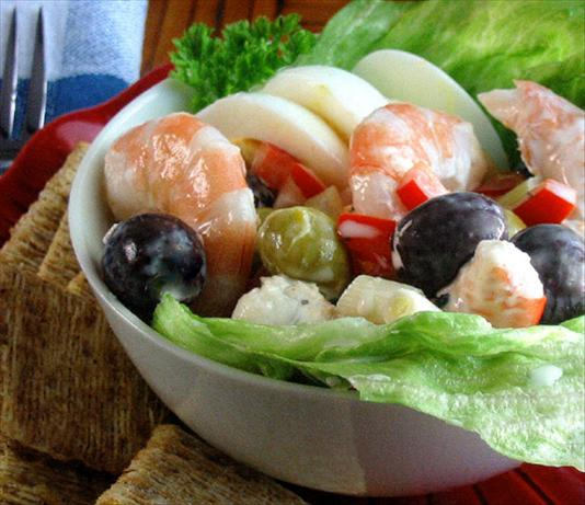 Shrimp/prawns and Olives Salad.