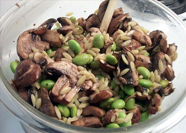 Orzo Salad With Marinated Mushrooms and Edamame