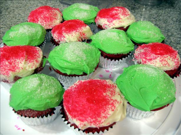 Festive Deep Red Velvet Christmas Cupcakes