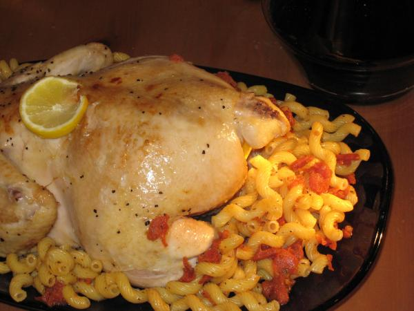 Roast Chicken With Ginger, Macaroni and Caramelized Tomatoes