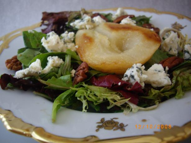 Roasted Pear-Honey Salad With Baby Greens