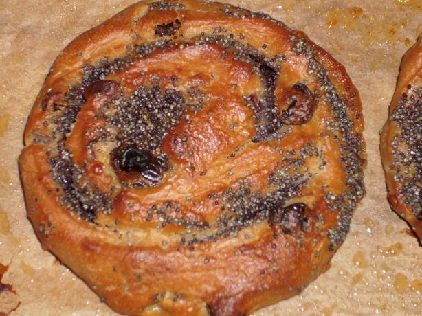 Poppy Seed Cherry Raisin Pinwheels