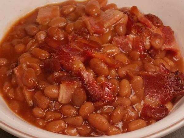 Baked Beans With Baked Bacon