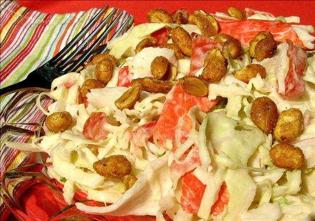 Krabby Crab Coleslaw with Spicy Nuts