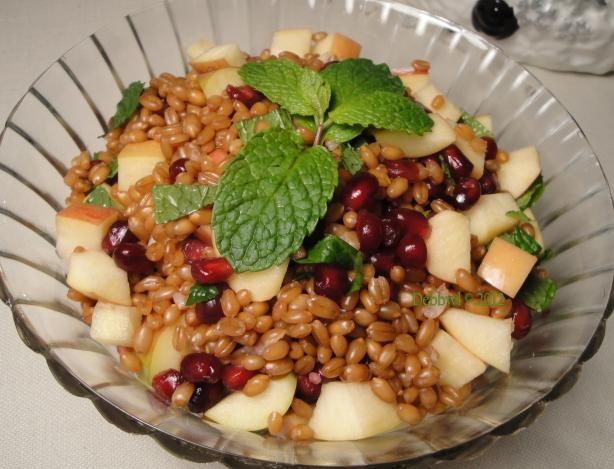 Apple, Pomegranate and Wheat Berry Salad