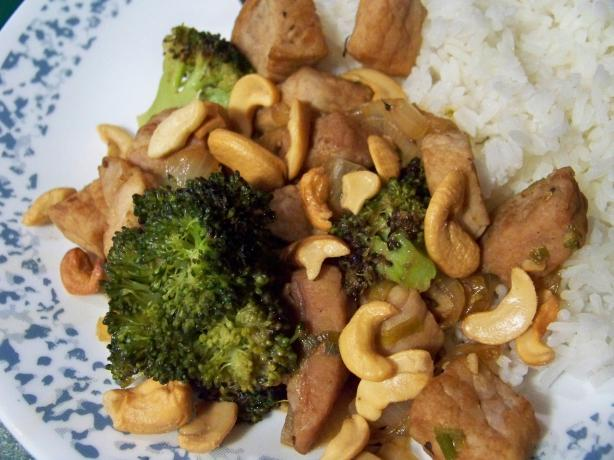 Stir Fried Pork With Broccoli and Cashews