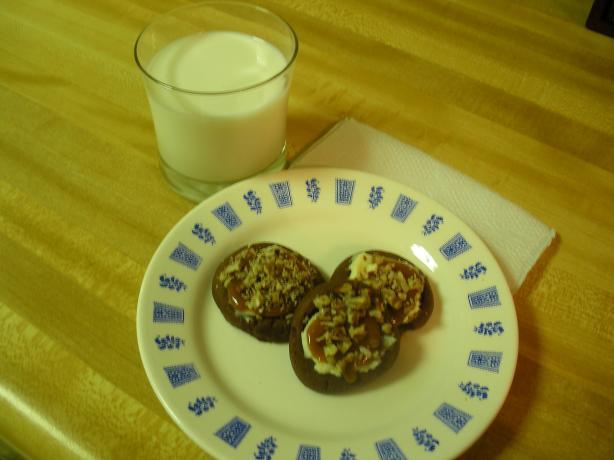 Turtle Cheesecake Thumbprint Cookies