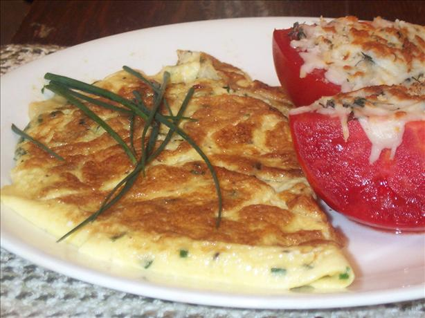Chive Omelette With Gruyere and Canadian Bacon