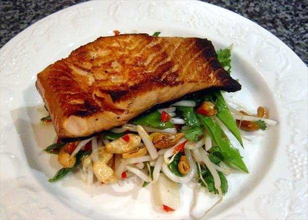 Soy Glazed Salmon With Crunchy Hot and Sour Salad
