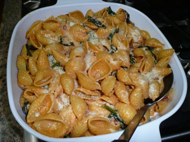 Baked Shells With Fresh Spinach and Pancetta