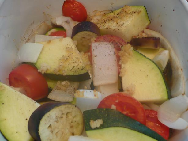 Baked Zucchini Eggplant (Aubergine) and Tomatoes