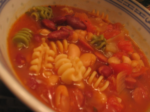 Pasta Fagioli Soup With Smoked Sausage