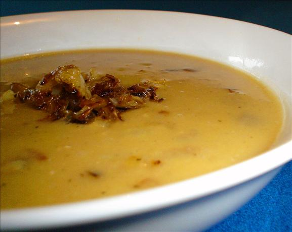 Split Pea Soup With Caramelized Onions and Cumin Seed