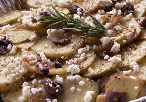 Non- Creamy Potato Bake With Feta and Olives