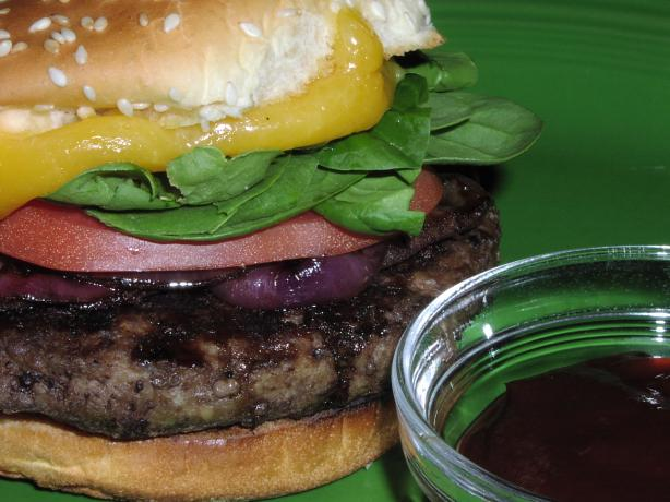 Cheddar Burgers With Balsamic Onions and Chipotle Ketchup