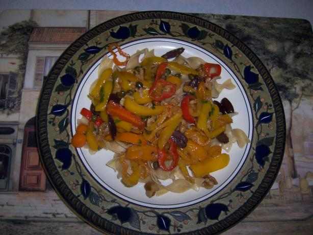 Fettuccini With Sweet Peppers & Pine Nuts