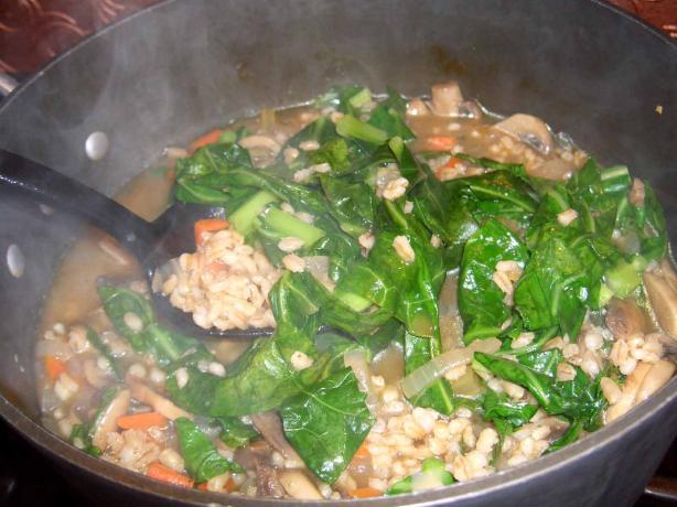 Mushroom Barley and Collards Soup