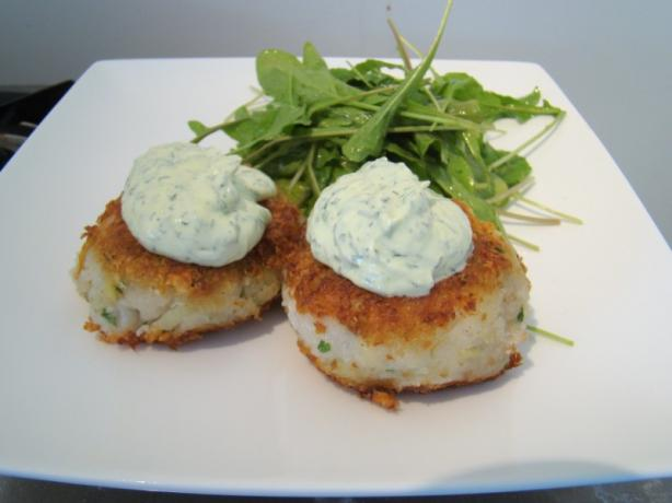 Golden Crusted Fish and Potato Cakes With Dill Yoghurt