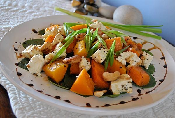 Butternut Pumpkin (Squash), Roasted Hazelnut and Feta Salad