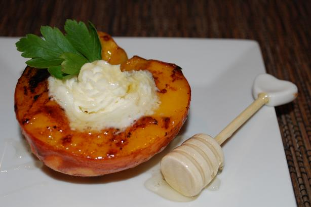 Grilled Rum Peaches With Mascarpone Cheese & Orange Blossom