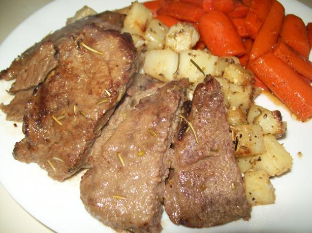 Top Round Steaks With Rosemary Garlic Potatoes